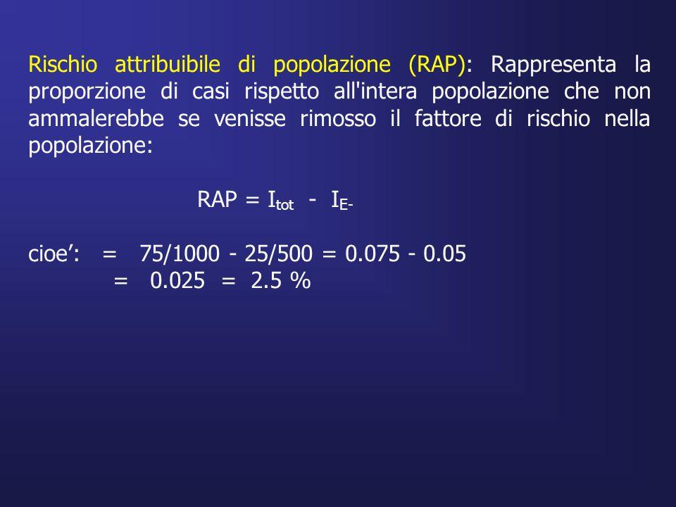 Rischio attribuibile di popolazione (RAP): Rappresenta la proporzione di casi rispetto all intera popolazione che non ammalerebbe se venisse rimosso il fattore di rischio nella popolazione:
