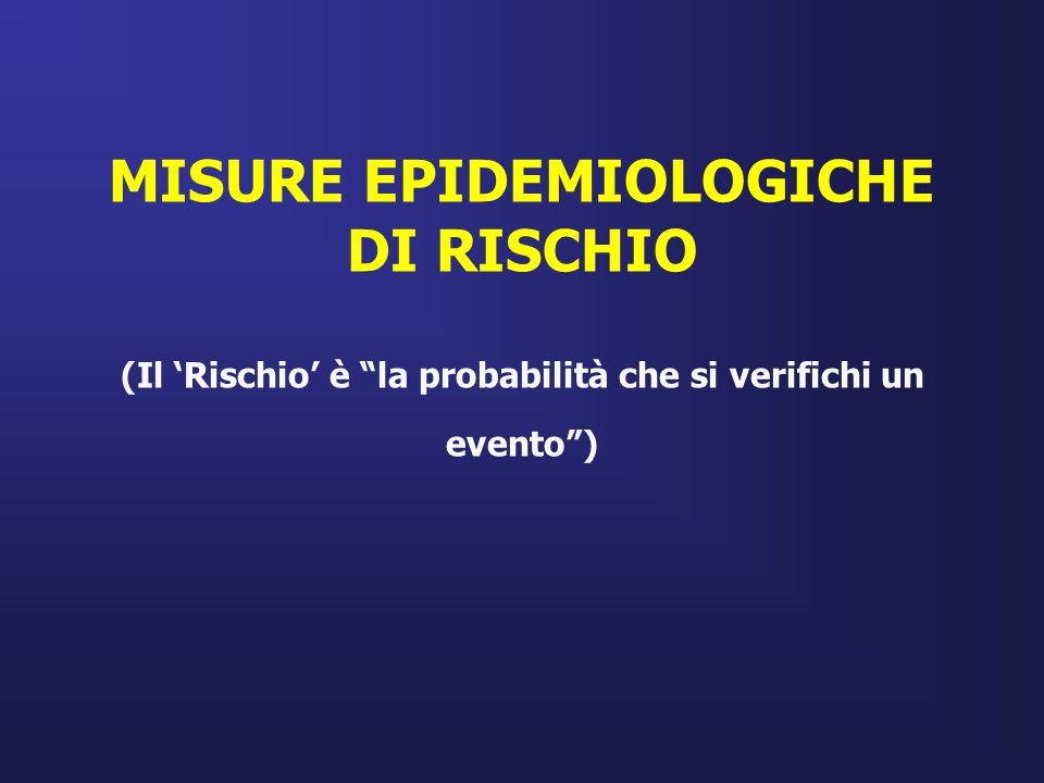 MISURE EPIDEMIOLOGICHE DI RISCHIO (Il 'Rischio' è la probabilità che si verifichi un evento )