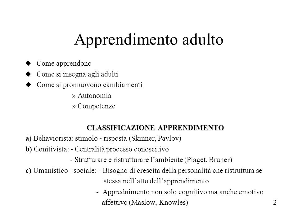 CLASSIFICAZIONE APPRENDIMENTO