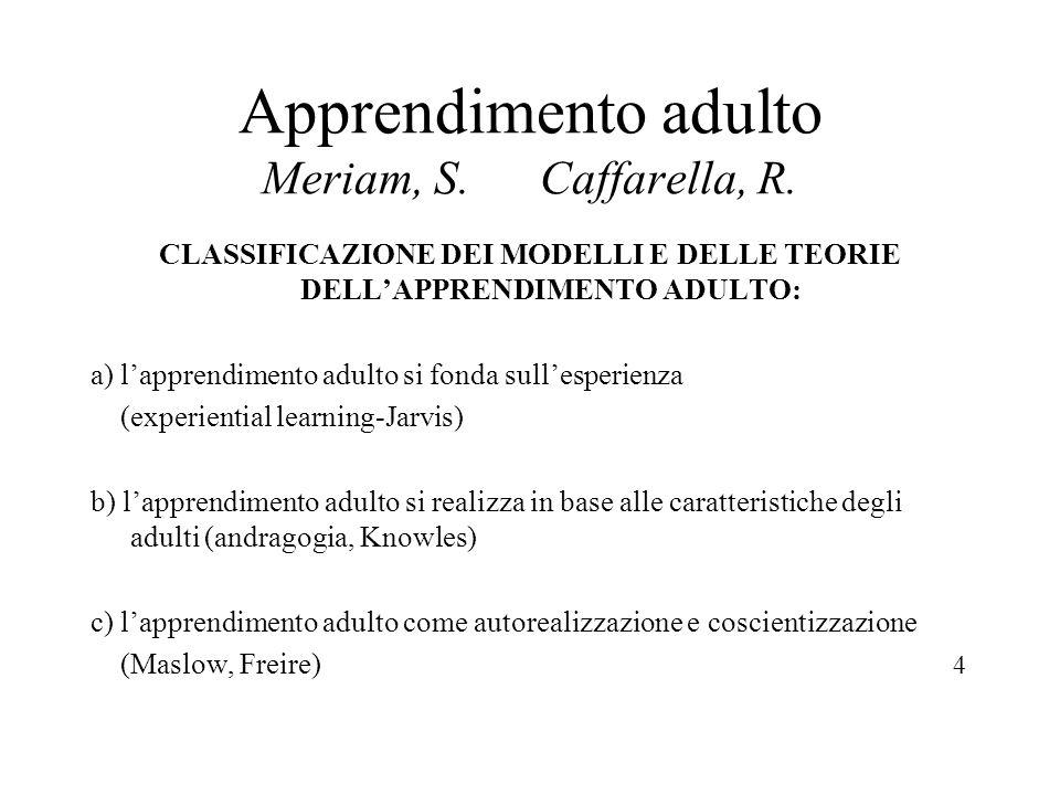 Apprendimento adulto Meriam, S. Caffarella, R.