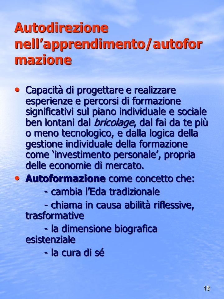 Autodirezione nell'apprendimento/autoformazione