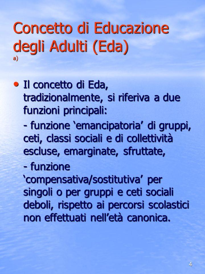 Concetto di Educazione degli Adulti (Eda) a)