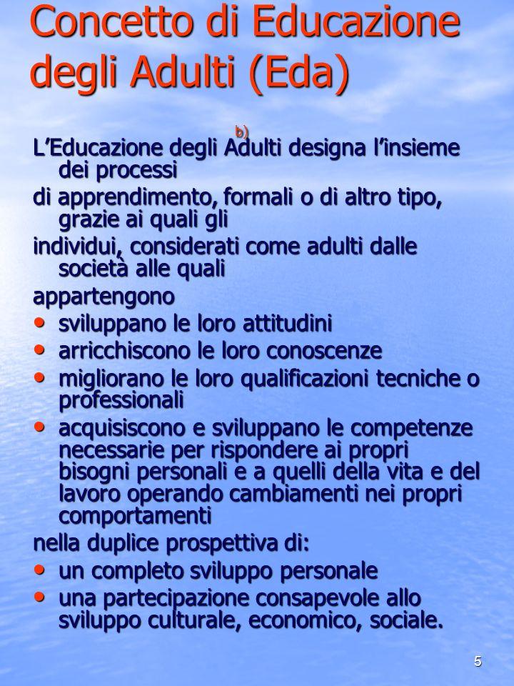 Concetto di Educazione degli Adulti (Eda) b)