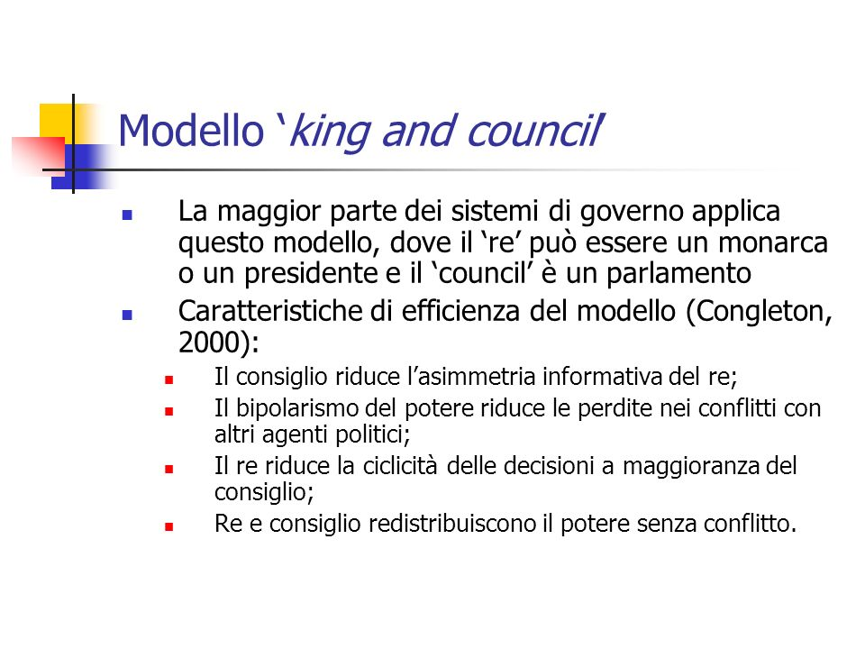 Modello 'king and council'