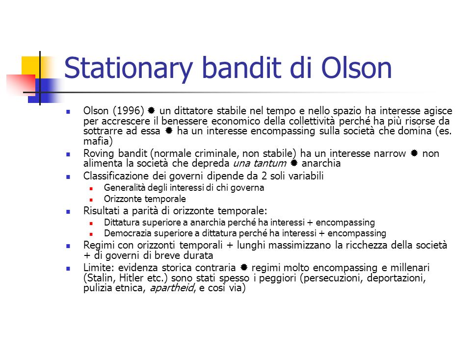 Stationary bandit di Olson