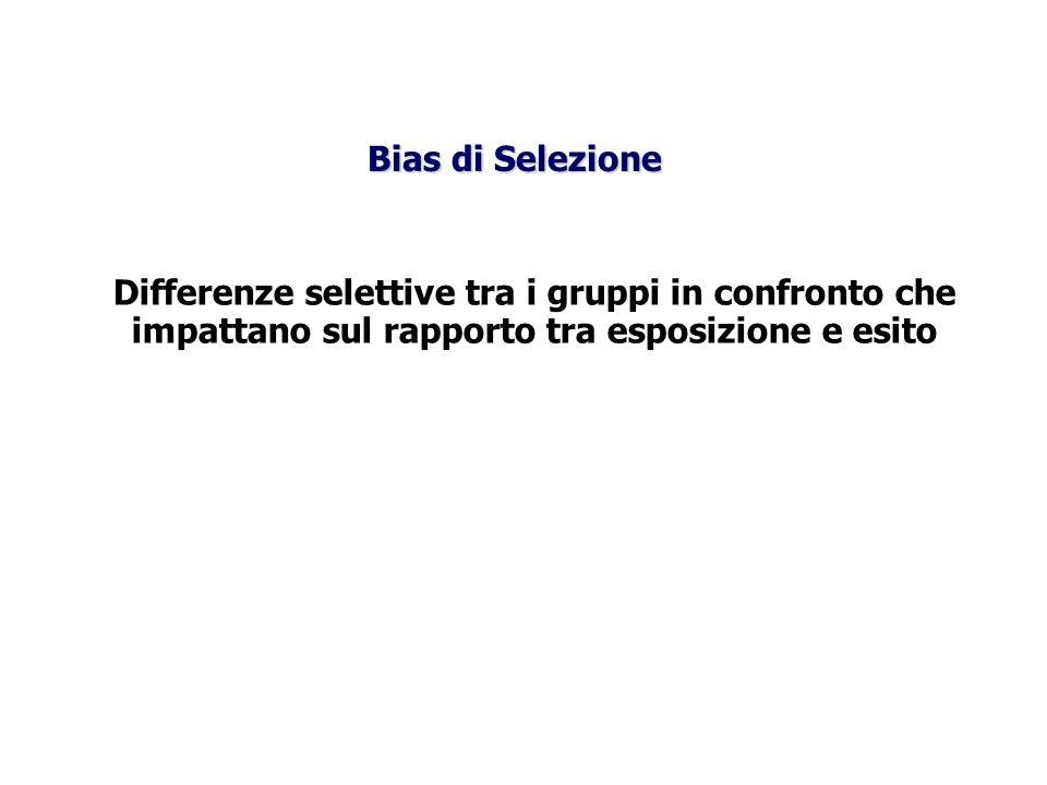 Bias di Selezione Differenze selettive tra i gruppi in confronto che impattano sul rapporto tra esposizione e esito.