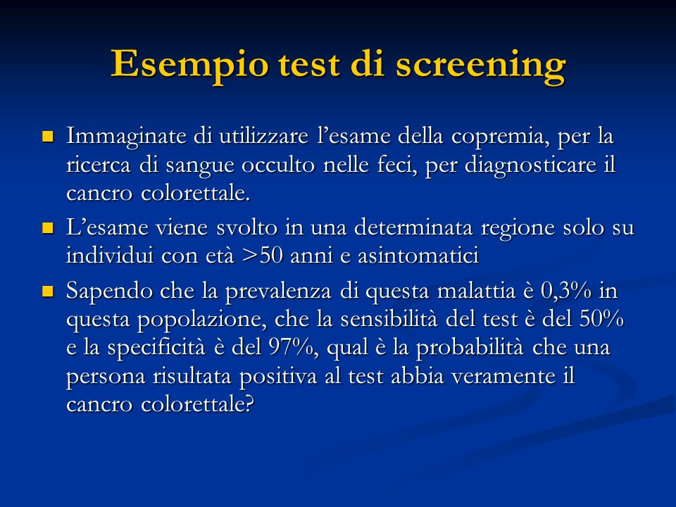 Esempio test di screening