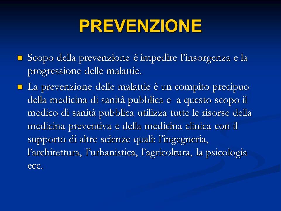 PREVENZIONE Scopo della prevenzione è impedire l'insorgenza e la progressione delle malattie.