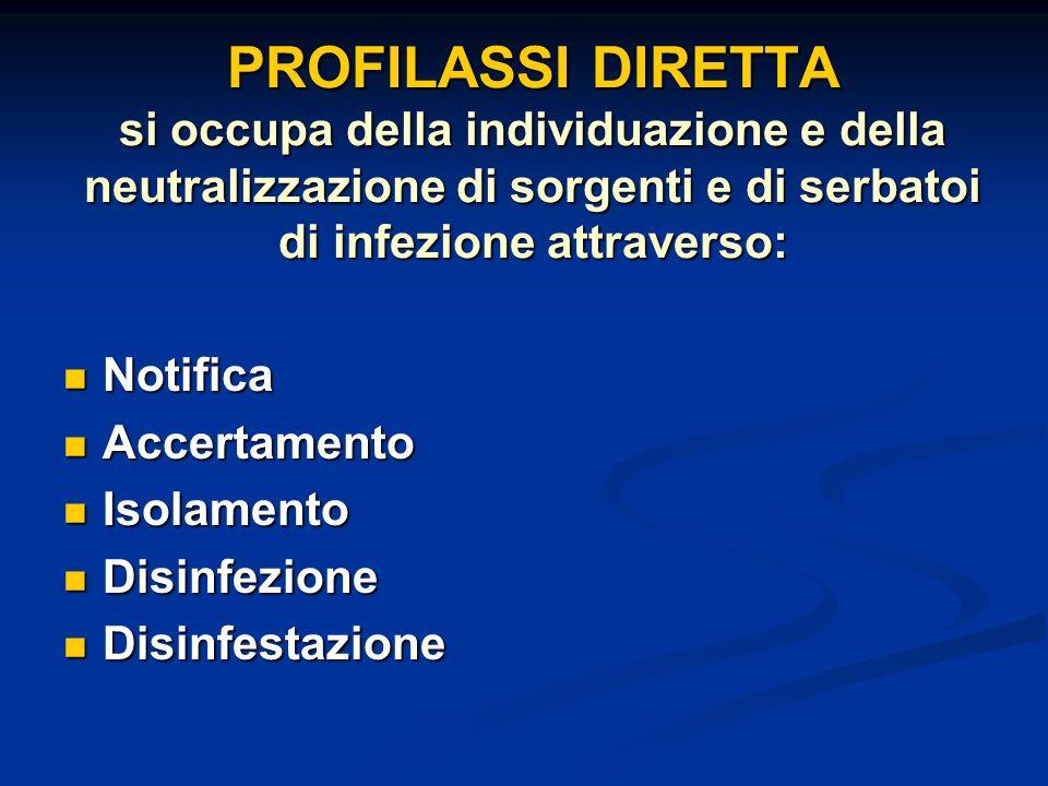 PROFILASSI DIRETTA si occupa della individuazione e della neutralizzazione di sorgenti e di serbatoi di infezione attraverso: