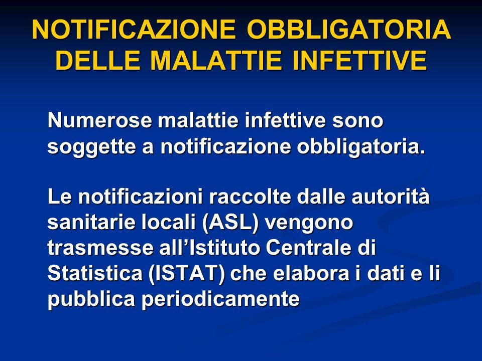 NOTIFICAZIONE OBBLIGATORIA DELLE MALATTIE INFETTIVE