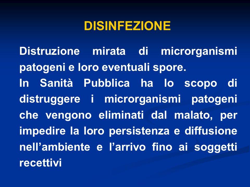 DISINFEZIONE Distruzione mirata di microrganismi patogeni e loro eventuali spore.