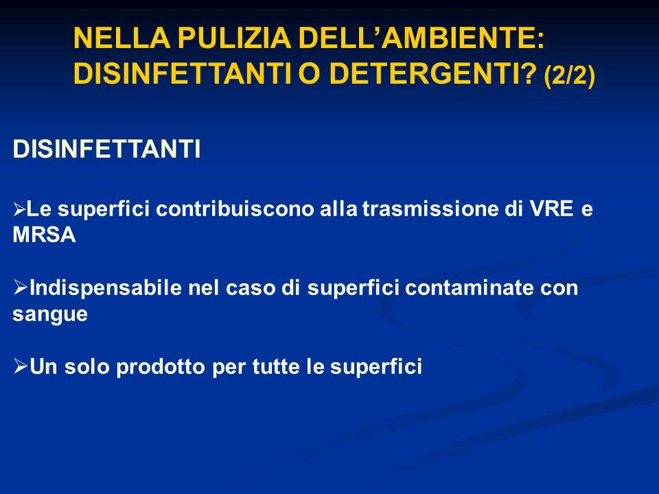 NELLA PULIZIA DELL'AMBIENTE: DISINFETTANTI O DETERGENTI (2/2)