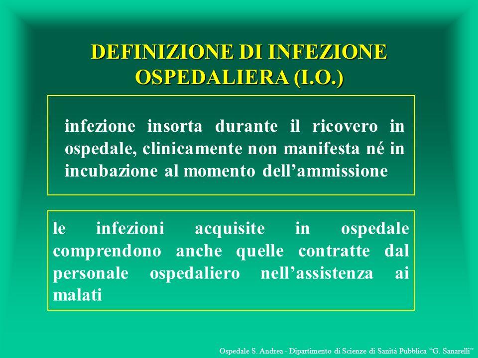 DEFINIZIONE DI INFEZIONE OSPEDALIERA (I.O.)