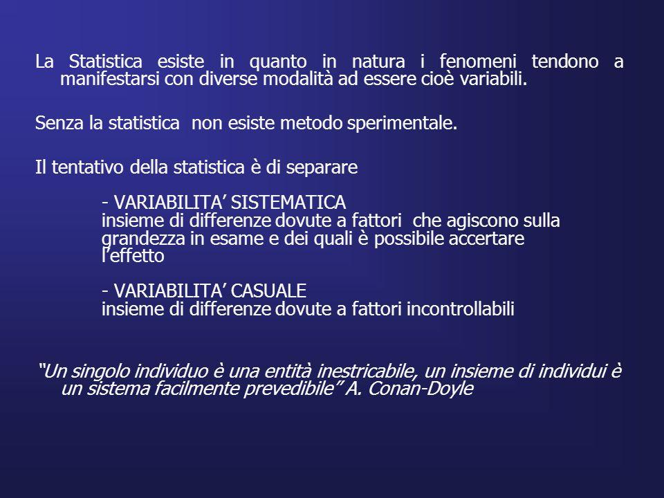 La Statistica esiste in quanto in natura i fenomeni tendono a manifestarsi con diverse modalità ad essere cioè variabili.