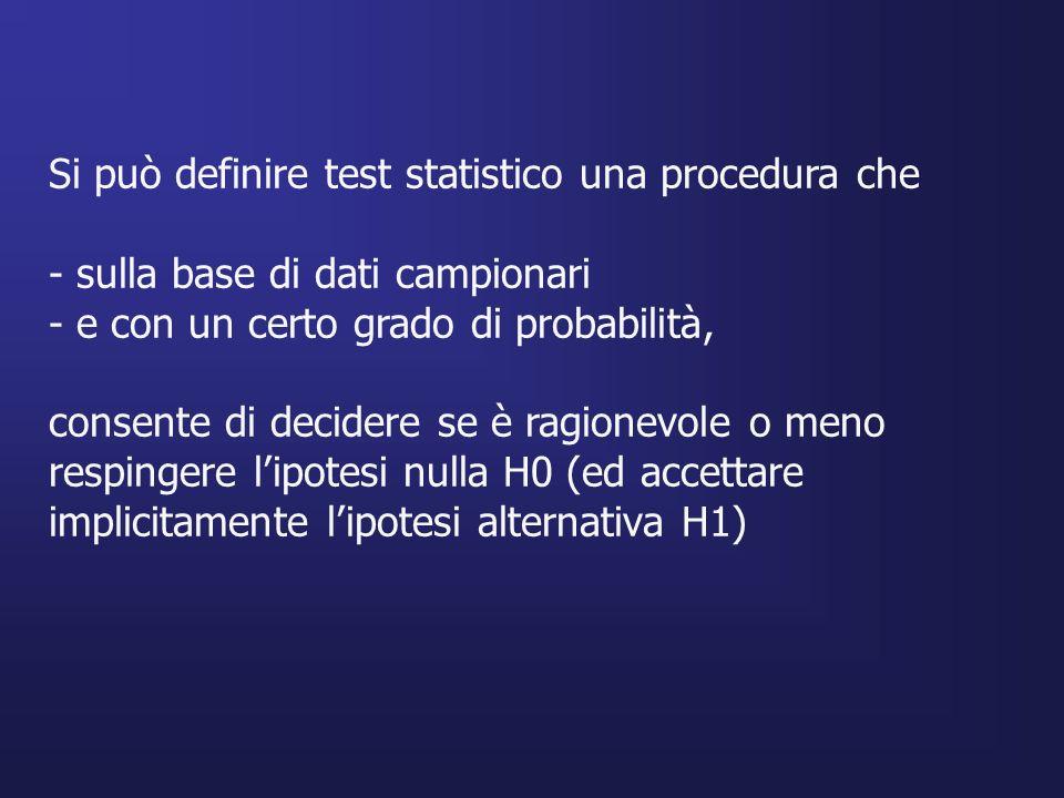 Si può definire test statistico una procedura che
