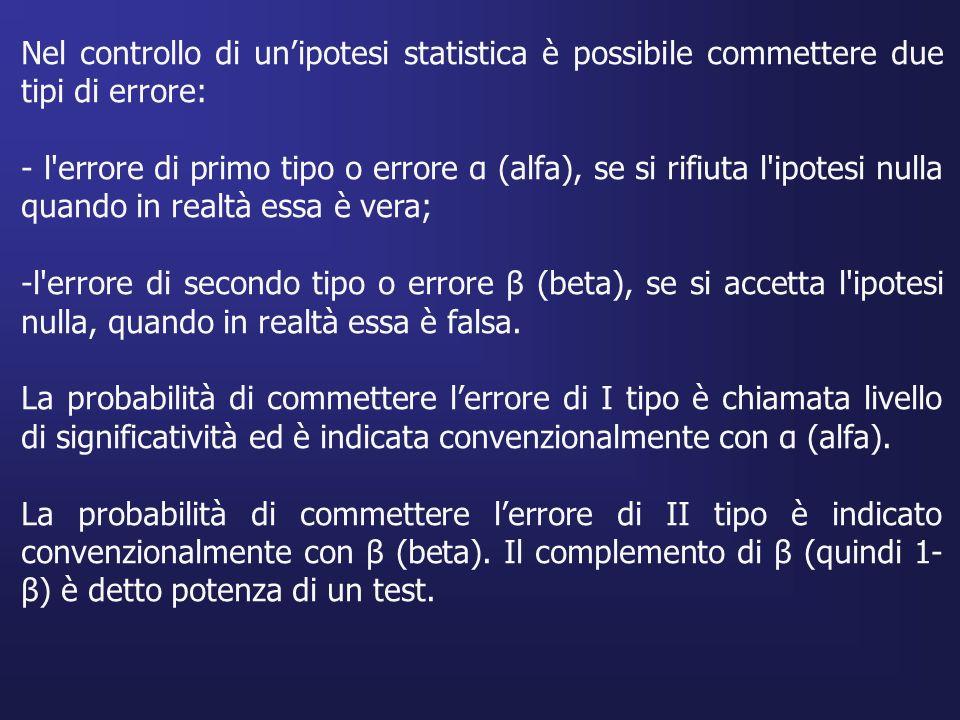 Nel controllo di un'ipotesi statistica è possibile commettere due tipi di errore: