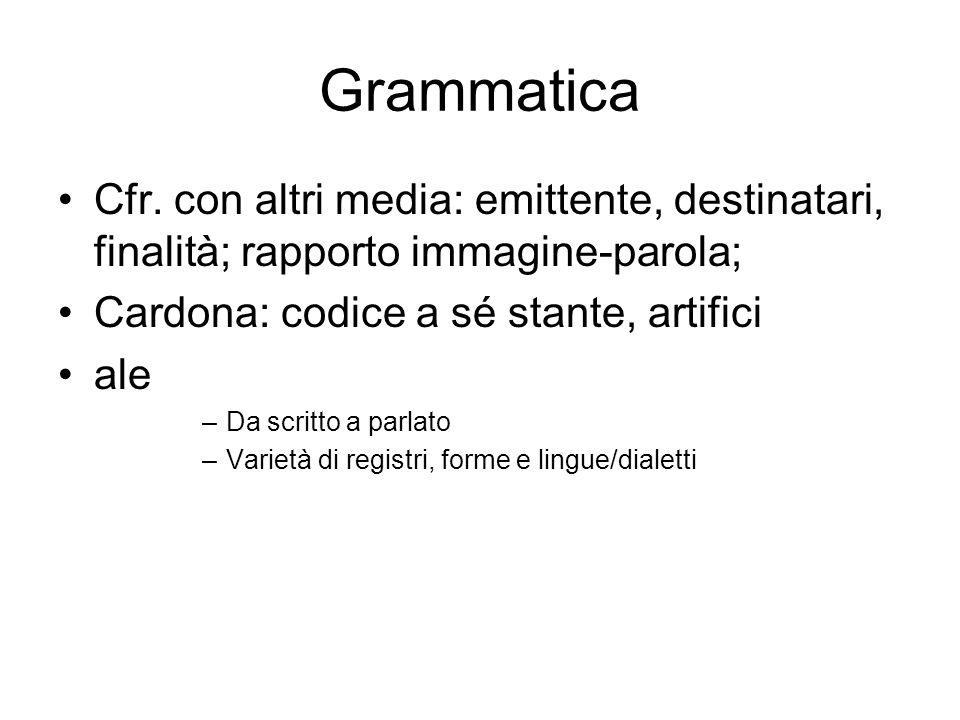 Grammatica Cfr. con altri media: emittente, destinatari, finalità; rapporto immagine-parola; Cardona: codice a sé stante, artifici.