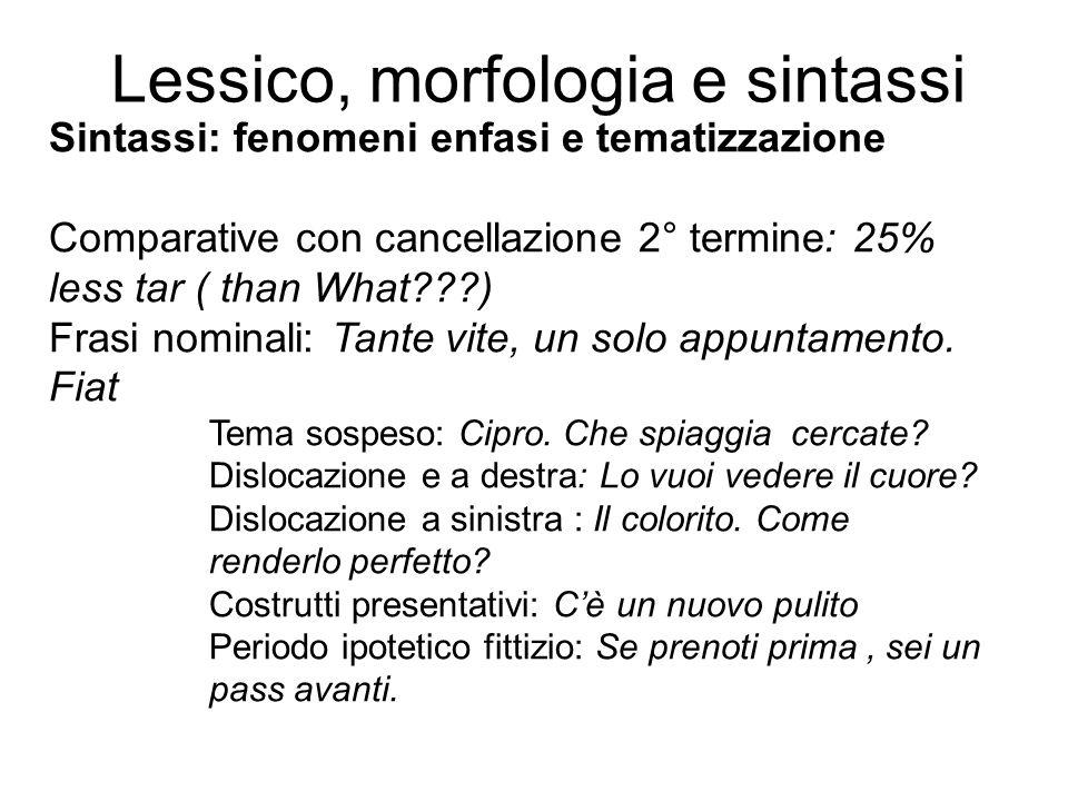 Lessico, morfologia e sintassi