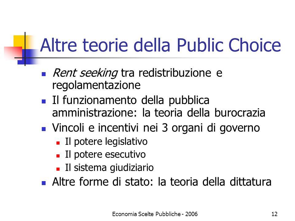 Altre teorie della Public Choice