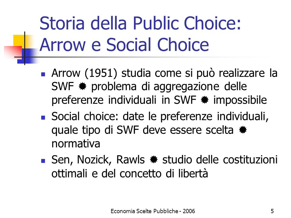 Storia della Public Choice: Arrow e Social Choice