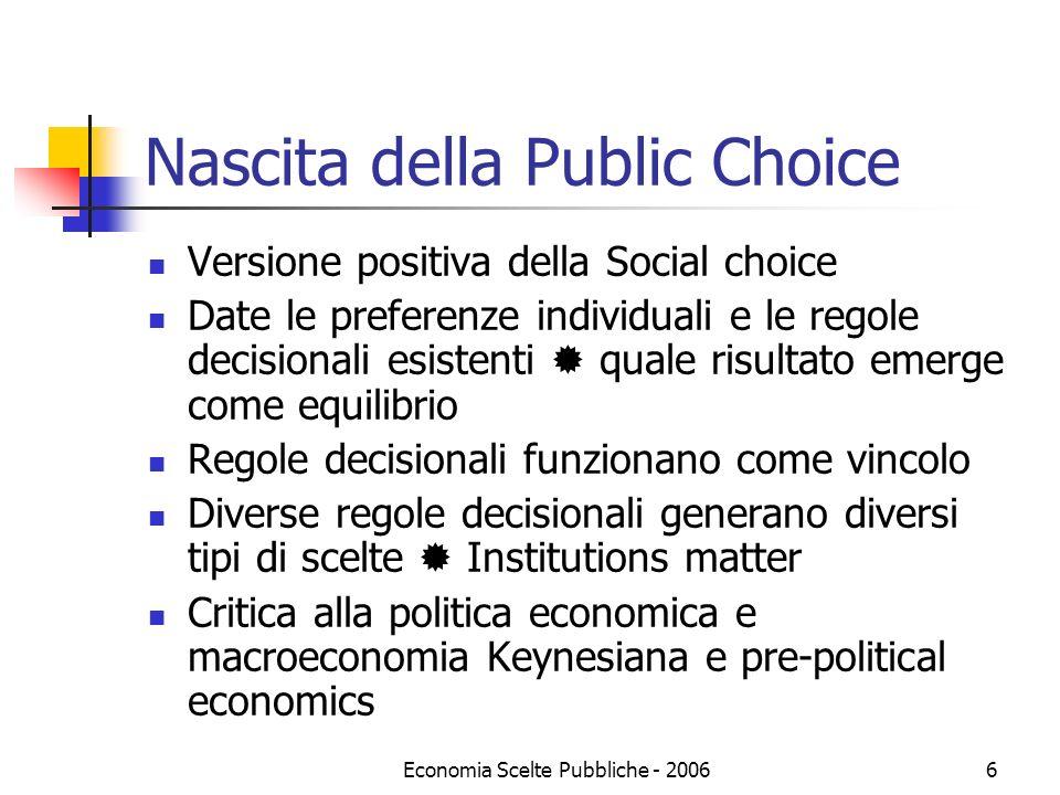 Nascita della Public Choice