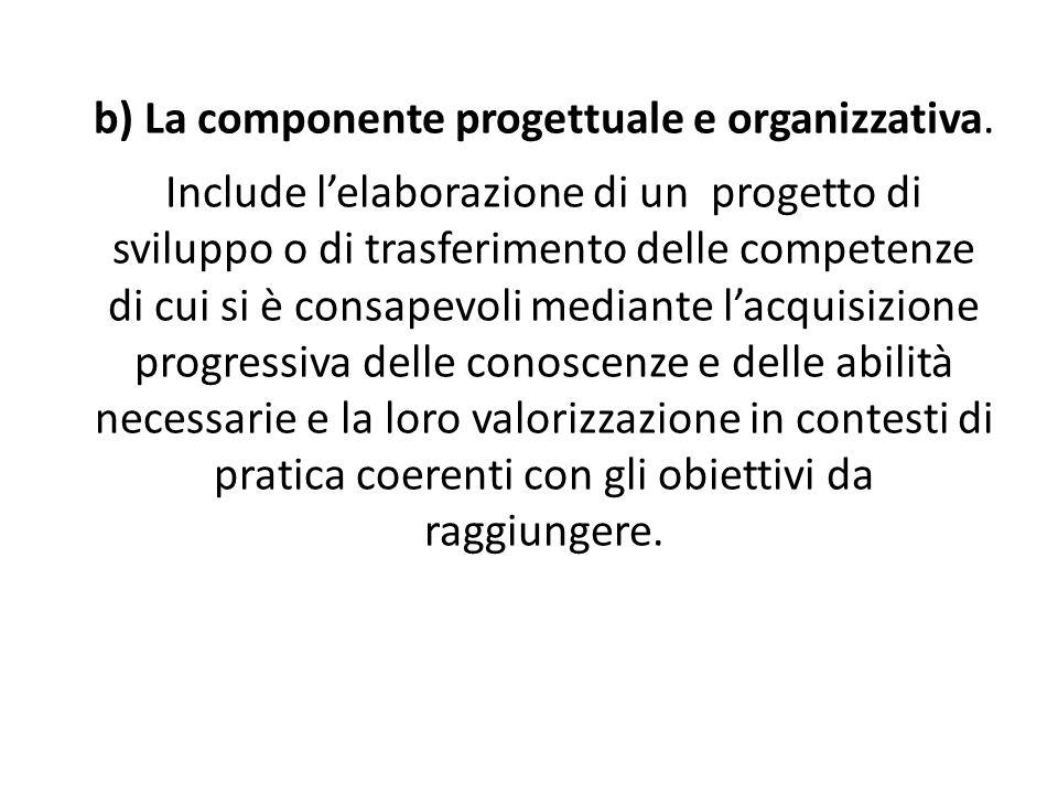 b) La componente progettuale e organizzativa
