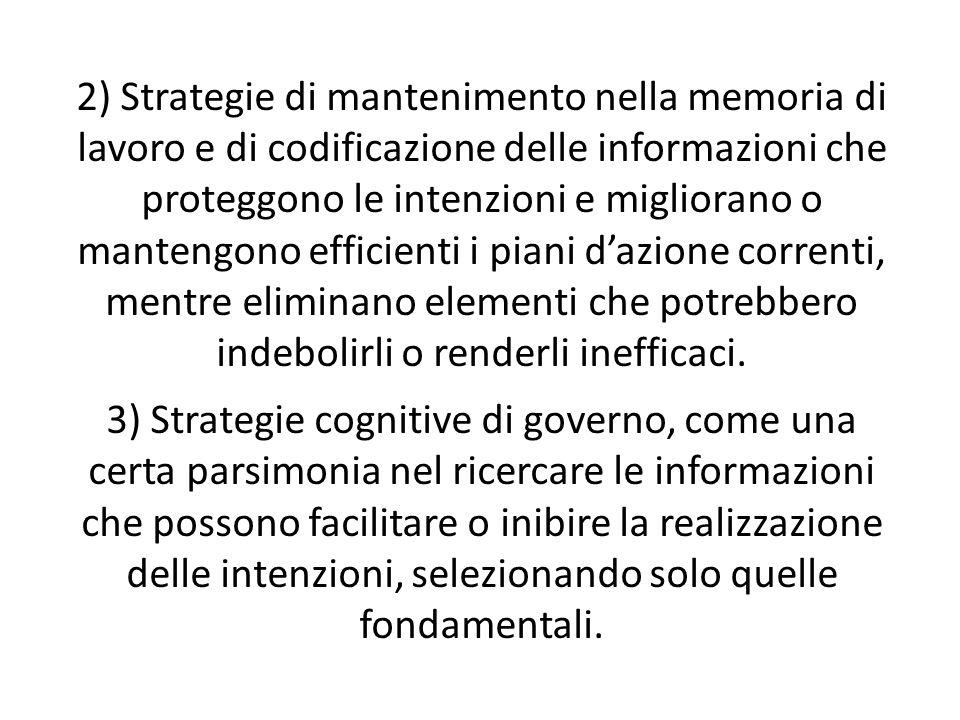 2) Strategie di mantenimento nella memoria di lavoro e di codificazione delle informazioni che proteggono le intenzioni e migliorano o mantengono efficienti i piani d'azione correnti, mentre eliminano elementi che potrebbero indebolirli o renderli inefficaci.
