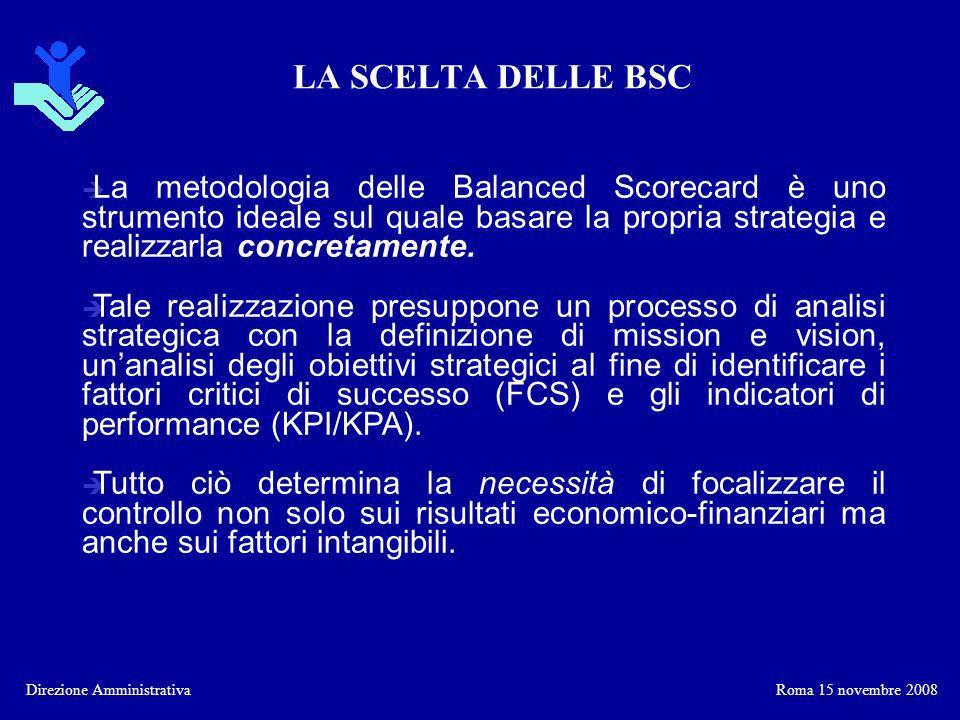 LA SCELTA DELLE BSC La metodologia delle Balanced Scorecard è uno strumento ideale sul quale basare la propria strategia e realizzarla concretamente.