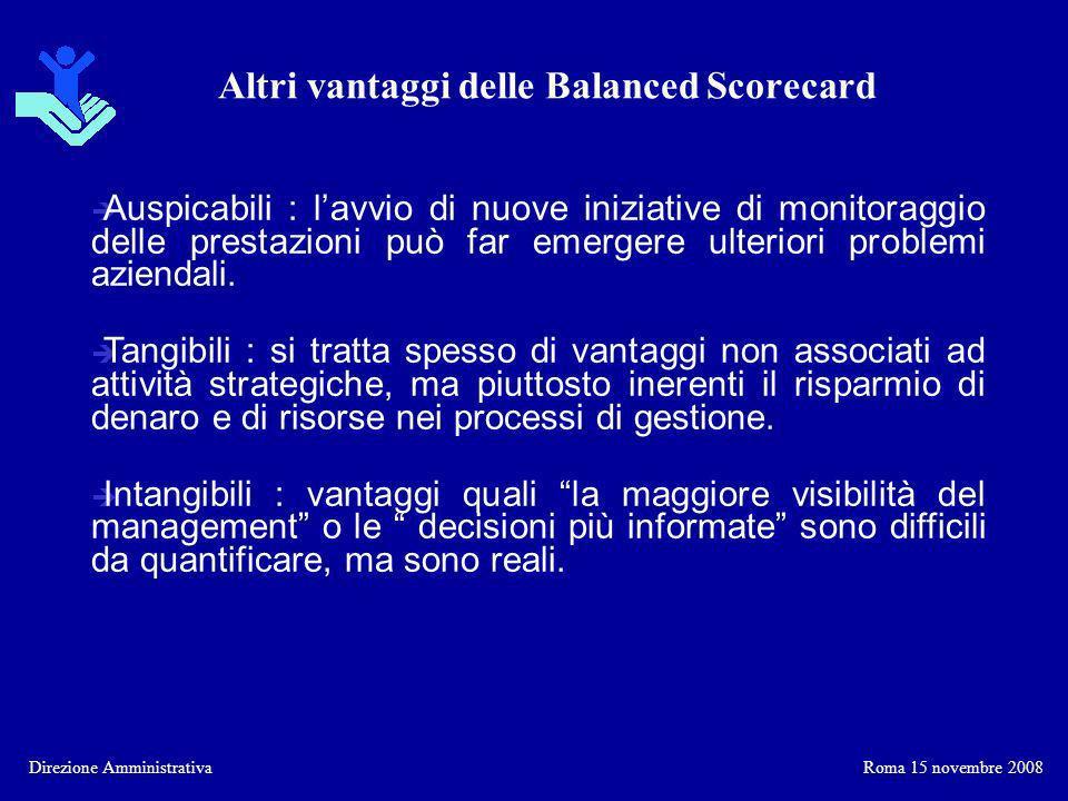 Altri vantaggi delle Balanced Scorecard