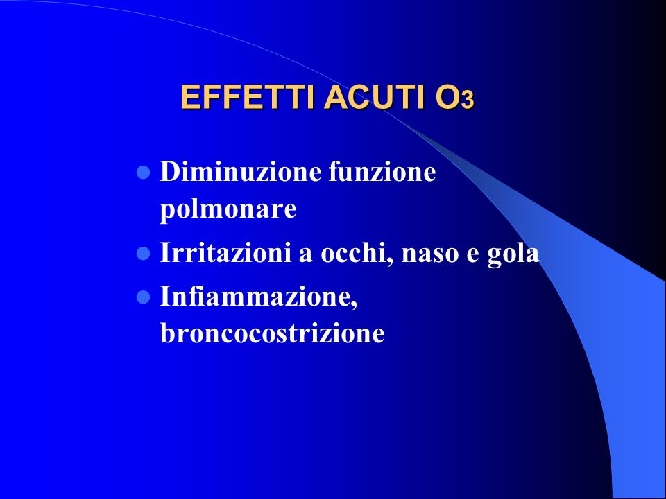 EFFETTI ACUTI O3 Diminuzione funzione polmonare