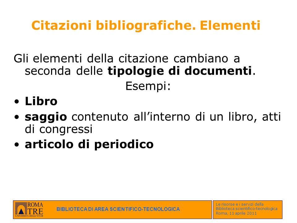 Citazioni bibliografiche. Elementi