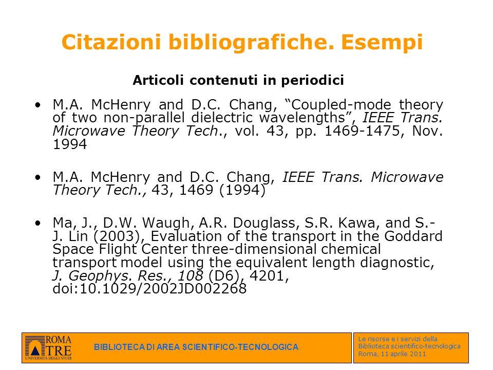 Citazioni bibliografiche. Esempi