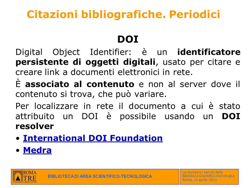 Citazioni bibliografiche. Periodici