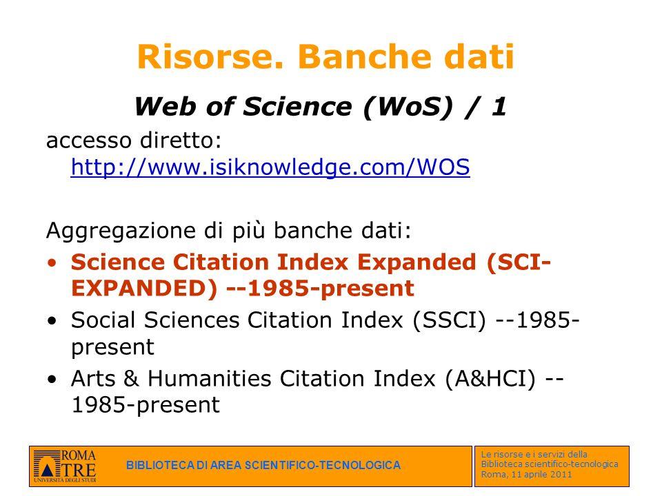 Risorse. Banche dati Web of Science (WoS) / 1