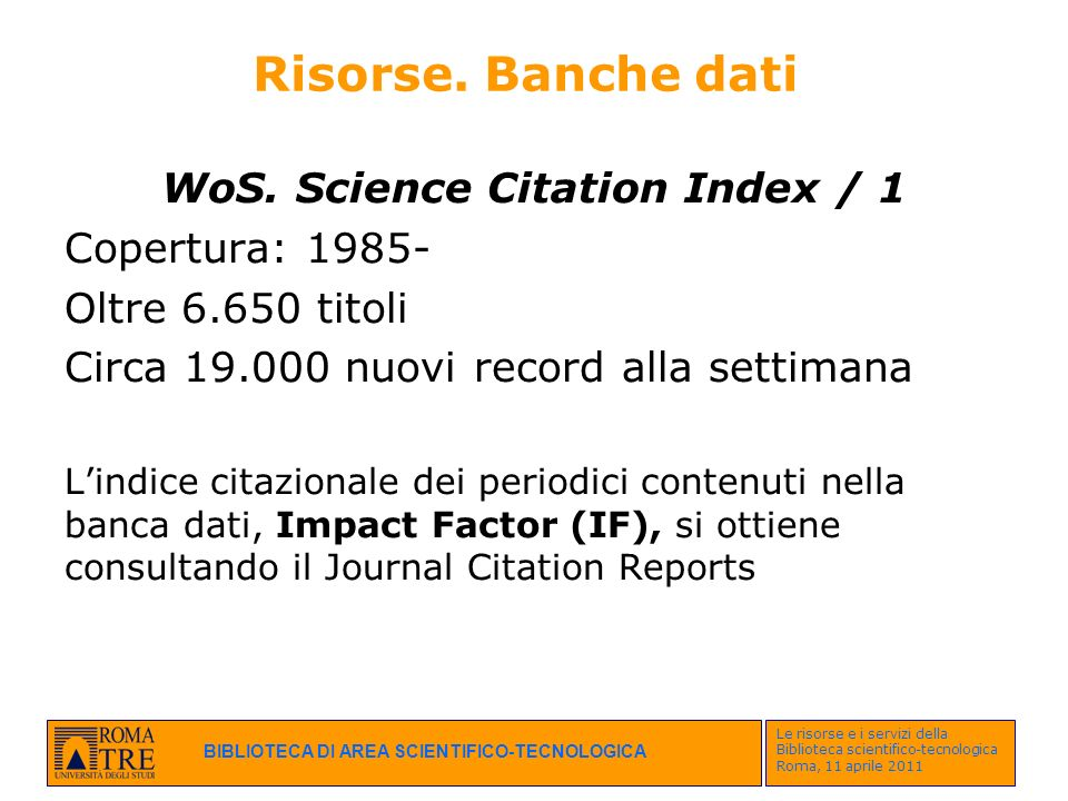 WoS. Science Citation Index / 1