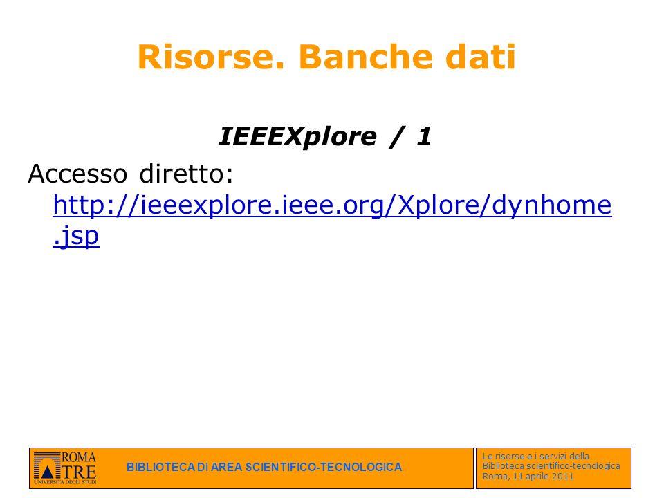 Risorse. Banche dati IEEEXplore / 1