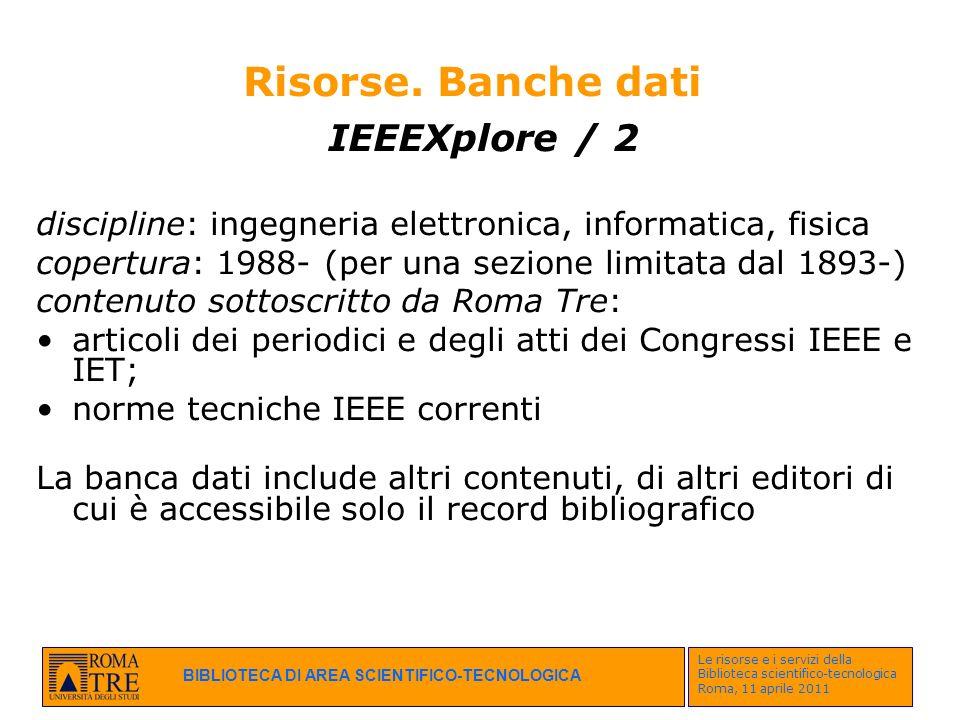 Risorse. Banche dati IEEEXplore / 2