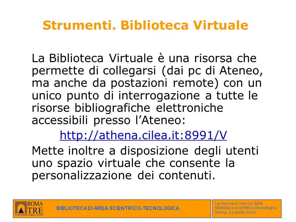 Strumenti. Biblioteca Virtuale