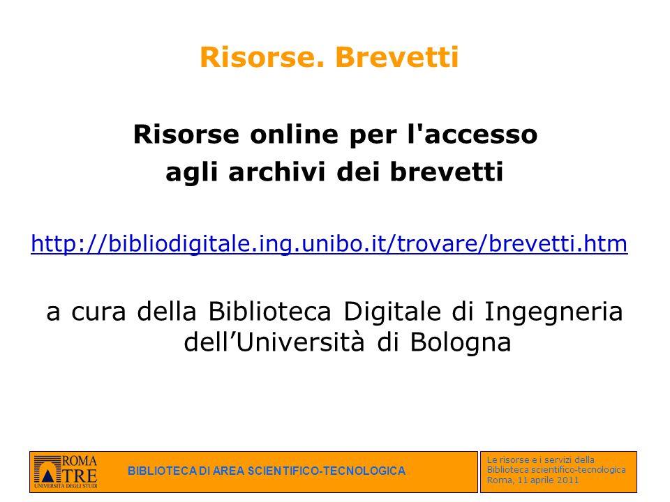 Risorse online per l accesso agli archivi dei brevetti