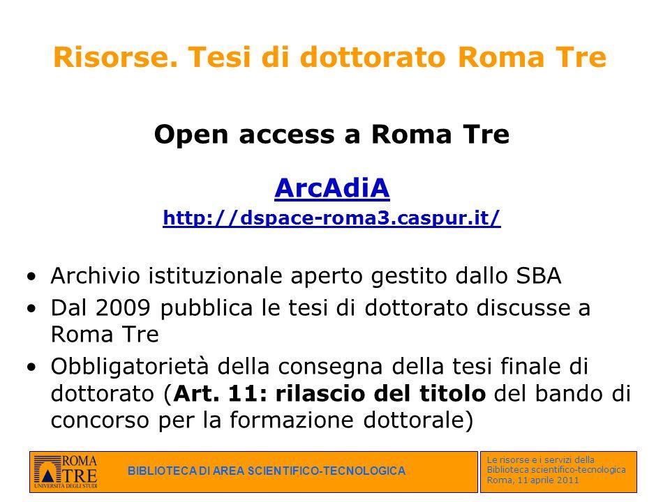 Risorse. Tesi di dottorato Roma Tre