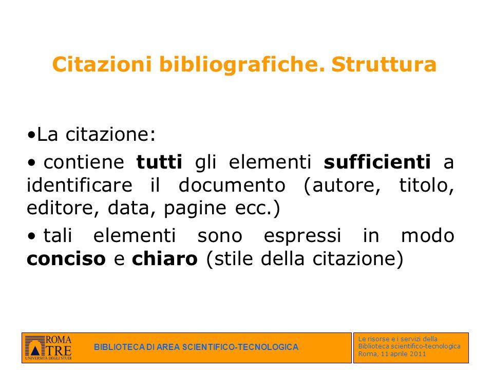 Citazioni bibliografiche. Struttura