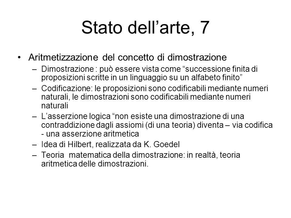 Stato dell'arte, 7 Aritmetizzazione del concetto di dimostrazione