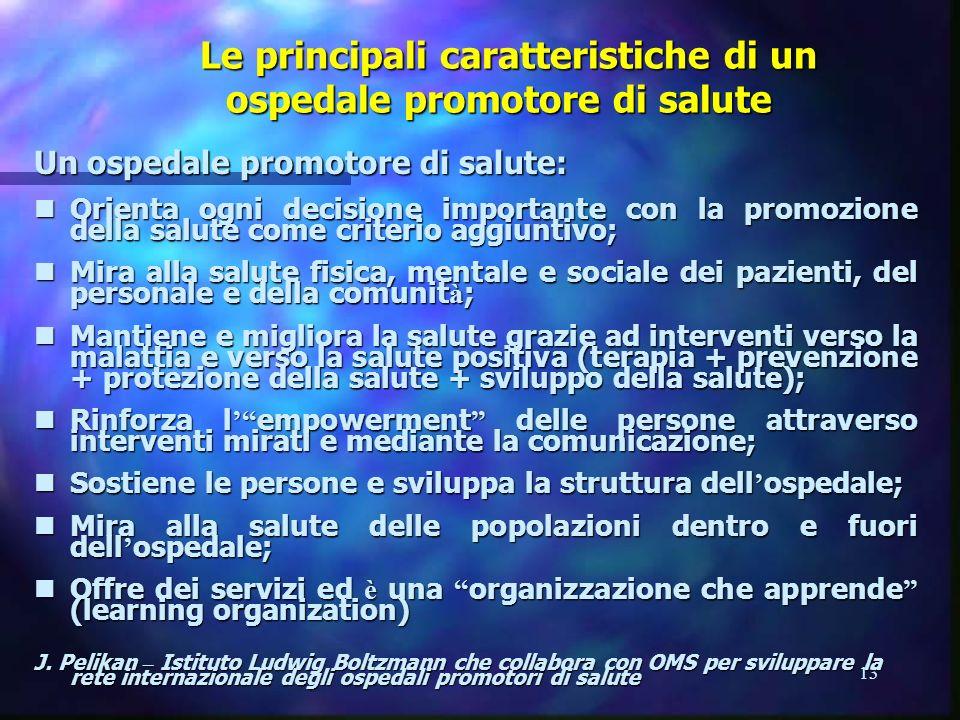 Le principali caratteristiche di un ospedale promotore di salute