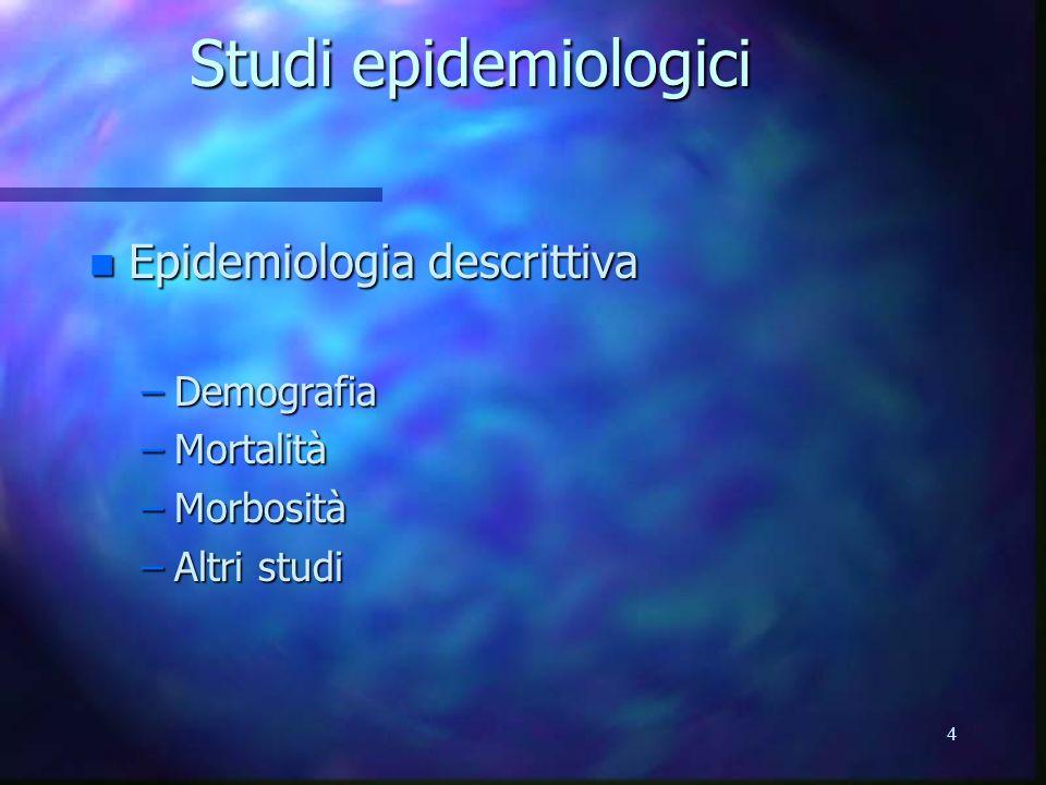 Studi epidemiologici Epidemiologia descrittiva Demografia Mortalità