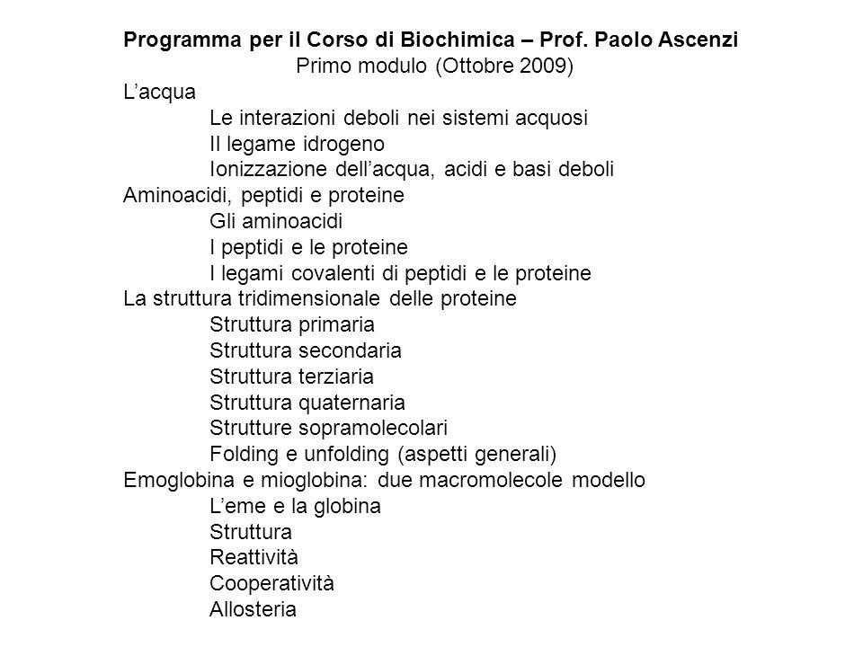 Programma per il Corso di Biochimica – Prof. Paolo Ascenzi