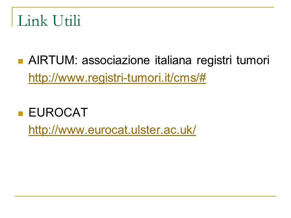 Link Utili AIRTUM: associazione italiana registri tumori