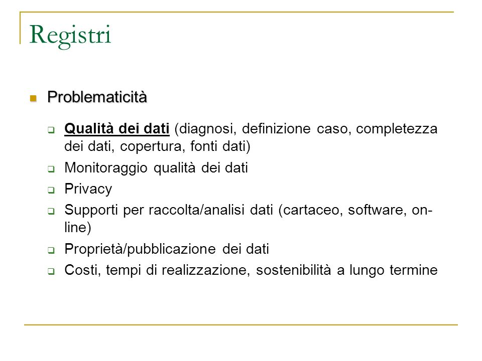 Registri Problematicità