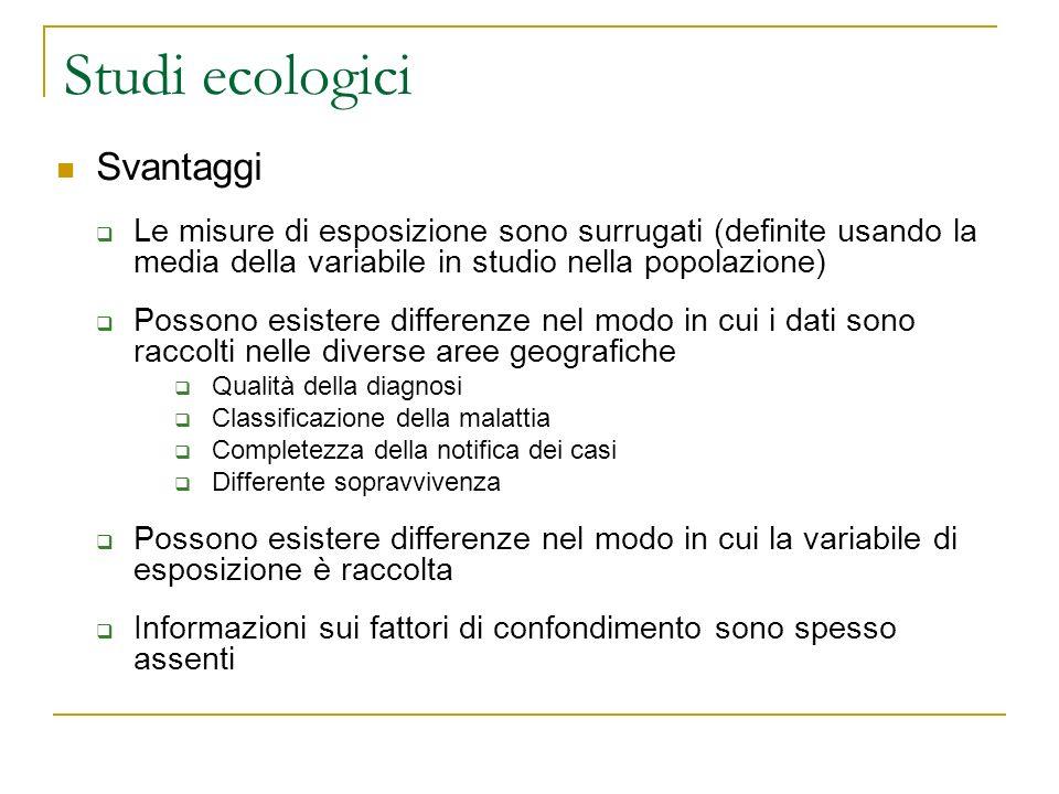 Studi ecologici Svantaggi