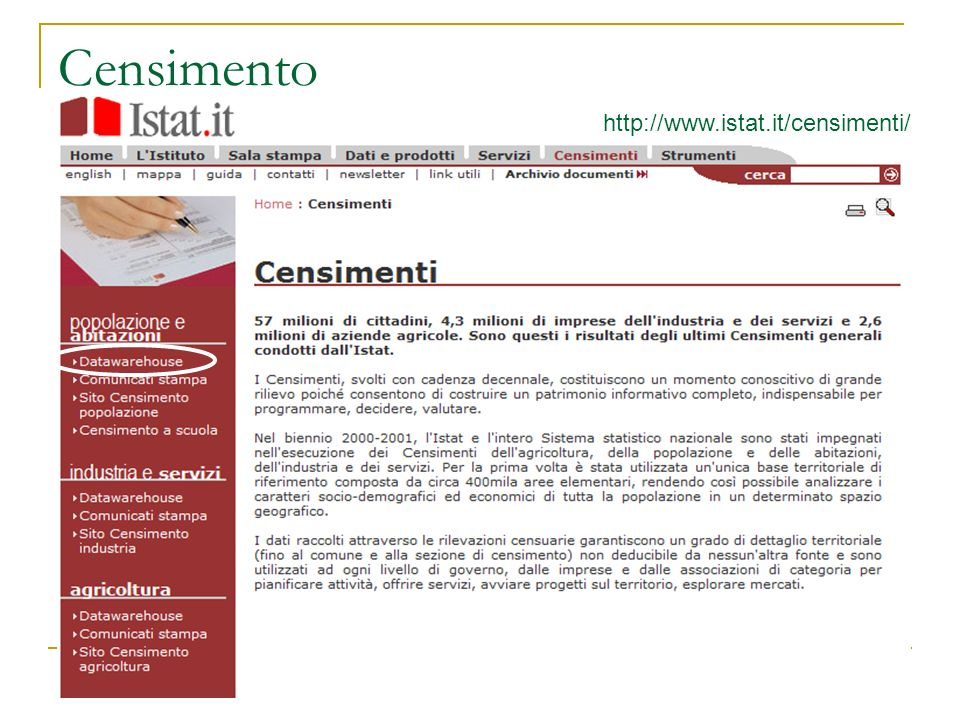 Censimento http://www.istat.it/censimenti/