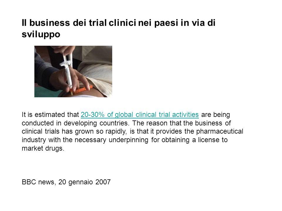 Il business dei trial clinici nei paesi in via di sviluppo